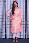 Pink chanderi Kurta set