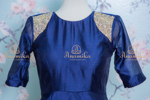 Dark blue chanderi silk dress
