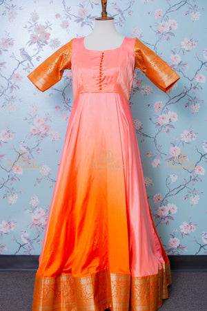 Orange banaras silk long dress