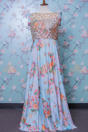 Floral crepe long dress