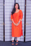 Orange ikkat silk kurta set