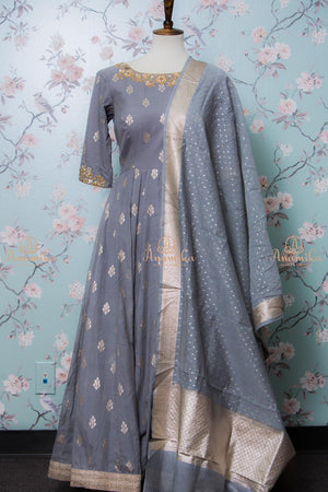 Grey Chanderi silk dress