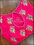 Pink Sleeveless Blouse with Zardosi work