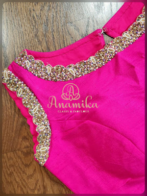 Pink sleeveless blouse with beads and sequins work