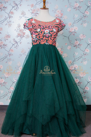 Green floral work dress
