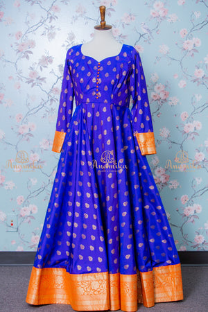 Silk long dress with banaras border