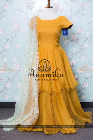 Mustard Organza Long Dress