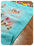 Pastel Blue Organza saree with pink handworked blouse