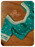 Green stripes saree with beautiful scallop work blouse