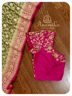 Olive Green Banarasi georgette saree with majenta pink border