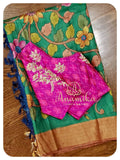 Green Pen Kalamkari Tussar with ikkat blouse