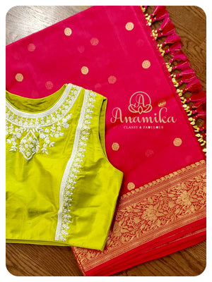 Pink Chanderi Silk Saree with sleeveless pearl-work blouse