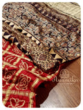 Maroonish Red Gharchola saree with Ajrak Pallu