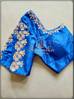 Royal Blue blouse with gold work