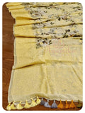 Yellow Floral Georgette with chikankari border
