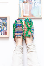 Load image into Gallery viewer, Slippers Upcycled from Moroccan Rugs - Pink & Green
