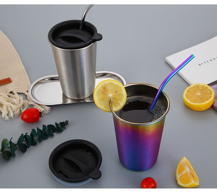 500ml 304 Stainless Steel Coffee Mugs Metal Straw Reusable