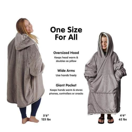 Huggle Hoodie Indoor Soft and Warm One Size Extra Large Hood