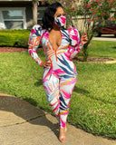 Pink Paradise Puff Jumpsuit and Face Cover