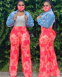 The Neon Light High Waist Pants and Mask