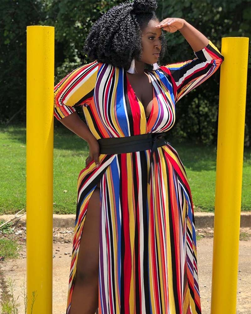 Plus With You Colorful Stripe Dress