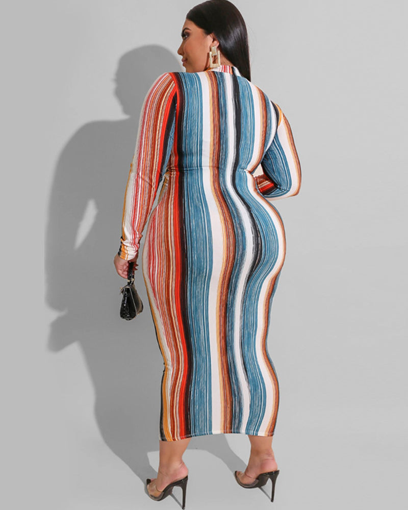 Plus Smile Back Stripe Maxi Dress
