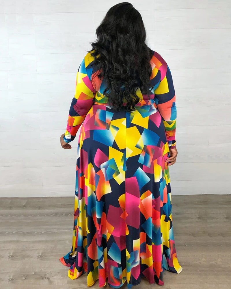 Plus Colorful Maxi Dress With Belt