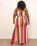 Plus Rainbow Stripe Two Piece Set