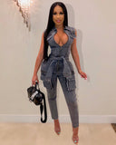 Catch Your Eyes Denim Jumpsuit