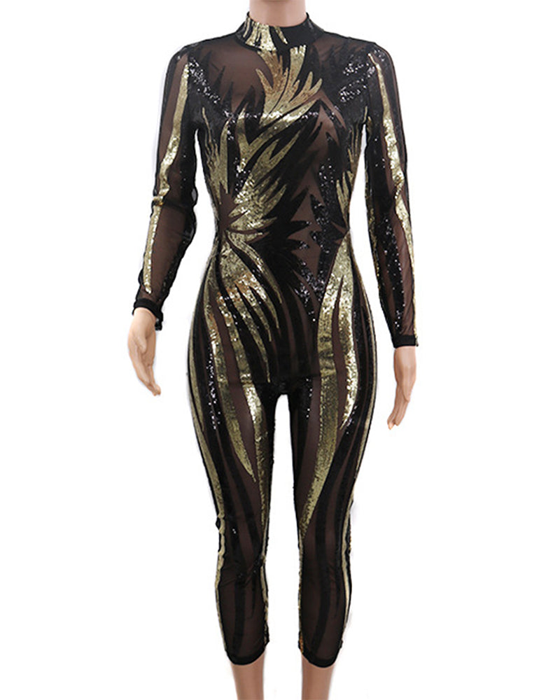 Sexy See Through Sequins Jumpsuit