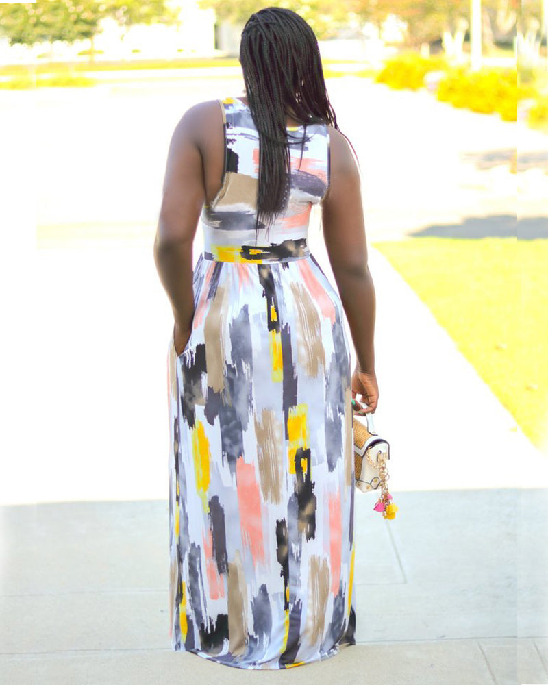 Plus  Sleeveless Maxi Dress