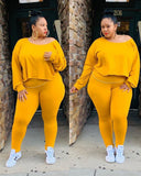 Pure Color Long Sleeve Plus Size Set