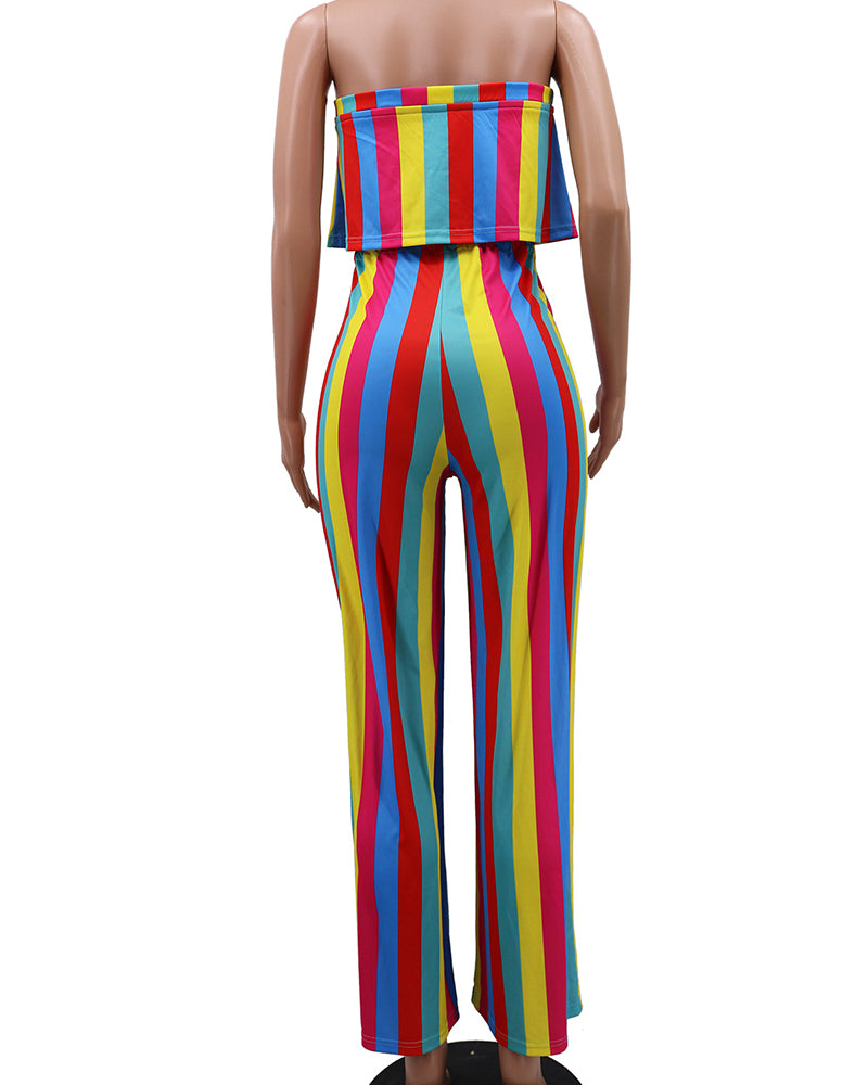Signs Of Love Rainbow Stripe Jumpsuit