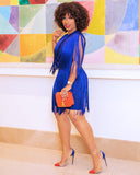 And Tonight Royal Blue Tassel Midi Dress