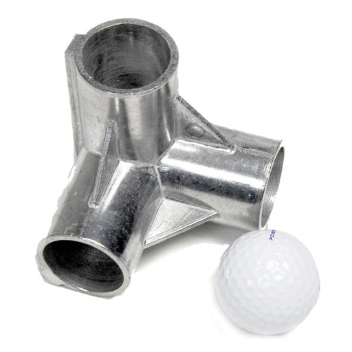 Aluminum golf frame corner fitting with golf ball