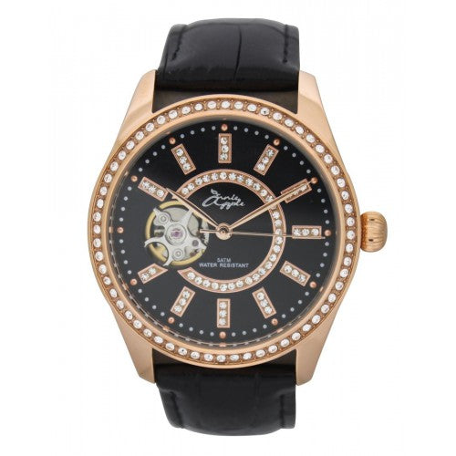 ETERNITY ROSE GOLD CASE BLACK DIAL BLACK STRAP