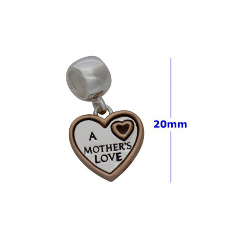 SCH005 - 1.9 GRAM SOLID 925 STERLING SILVER DANGLE HEART MOTHER'S MUM LOVE CHARM PENDANT