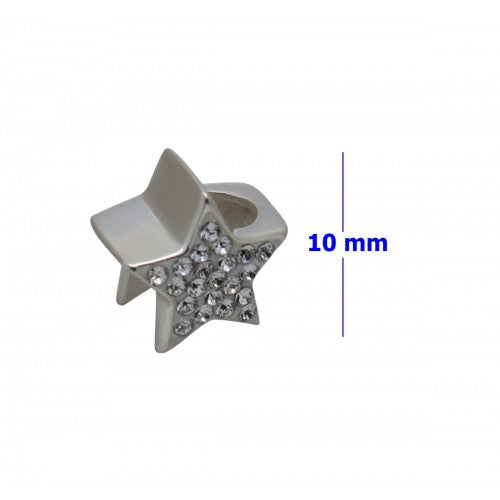 SCH021 - 1.85 GRAM SOLID 925 STERLING SILVER STAR CRYSTAL DIAMANTE GIFT PRESENT CHARM PENDANT BRACELET