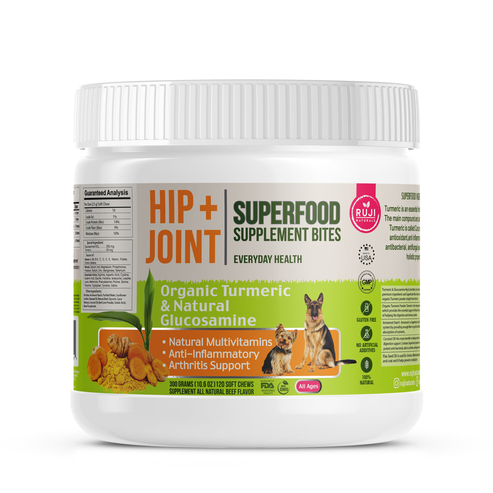 Hip + Joint supplement made with  USDA Organic Turmeric & Natural Glucosamine