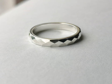 Silver Ring, Bespoke Jewellery, Sterling Silver Ring, Fine Jewellery, Faceted Ring