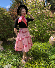 Load image into Gallery viewer, The Don Pink Flamingo Yoke Flared Skirt