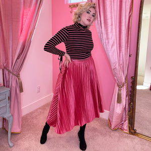 The Lace Me Up Turtleneck Top - Pink Stripe Knit - Fall/Winter 2020