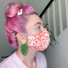 Load image into Gallery viewer, Reusable Organic Cotton // Coral Leopard Print Face Mask // With Adjustable Elastic Straps