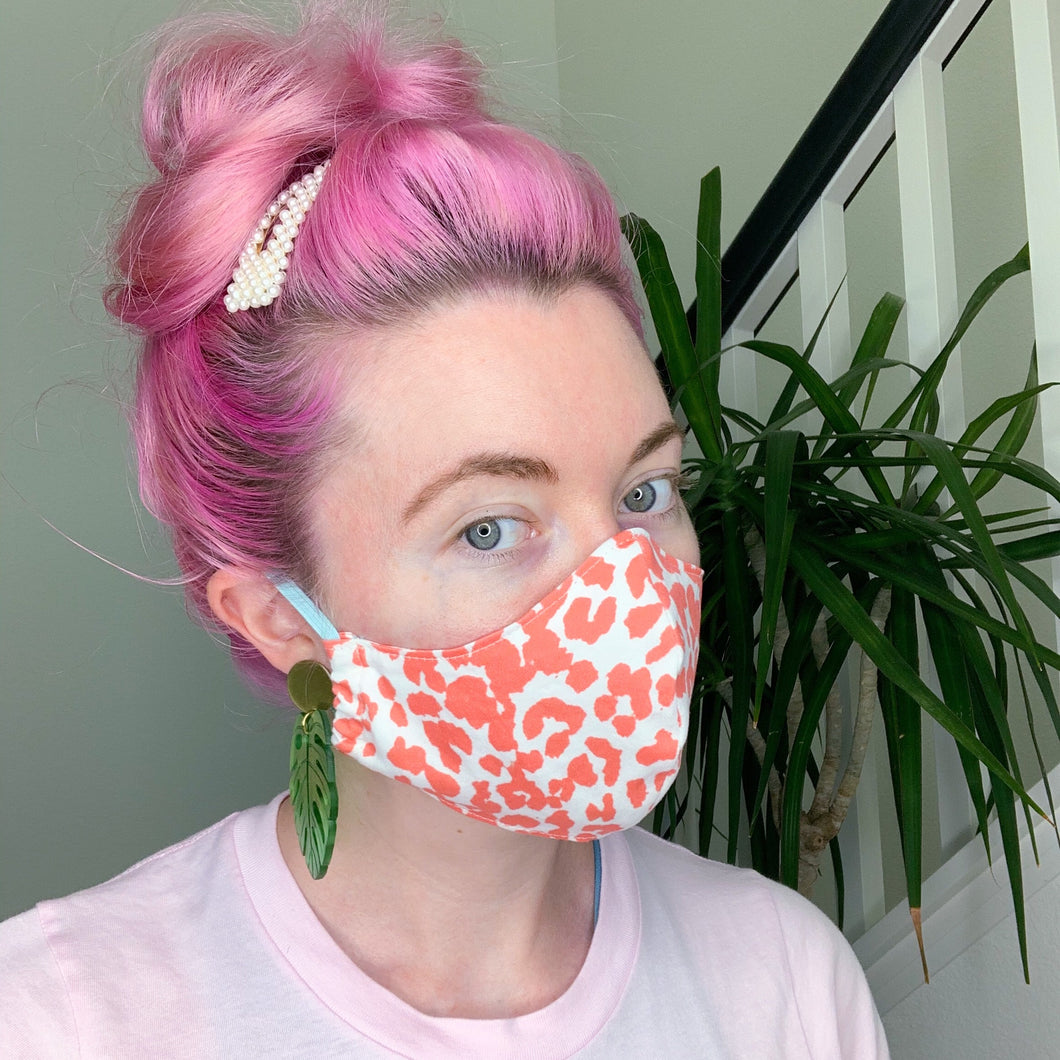 Reusable Organic Cotton // Coral Leopard Print Face Mask // With Adjustable Elastic Straps