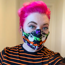 Load image into Gallery viewer, Reusable Cotton // Bats & Skulls Print Face Mask // With Adjustable Elastic Straps