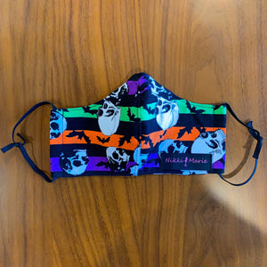 Reusable Cotton // Bats & Skulls Print Face Mask // With Adjustable Elastic Straps