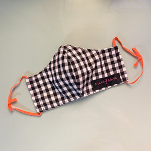 Reusable Cotton & Muslin  // Black & White Gingham Face Mask // With Adjustable Elastic Straps