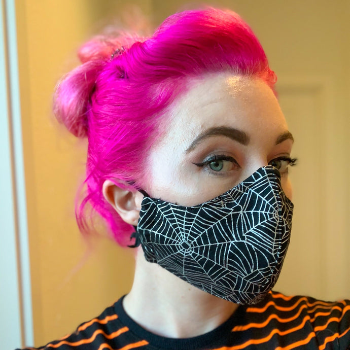 Reusable Cotton // Spider Web Print Face Mask // With Adjustable Elastic Straps