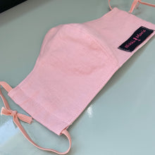 Load image into Gallery viewer, Reusable Linen& Muslin Cotton // Dusty Pink Face Mask // With Adjustable Elastic Straps