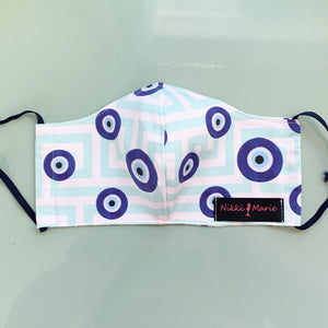 Reusable Organic Cotton // Evil Eye Μάτι Print Face Mask // With Adjustable Elastic Straps